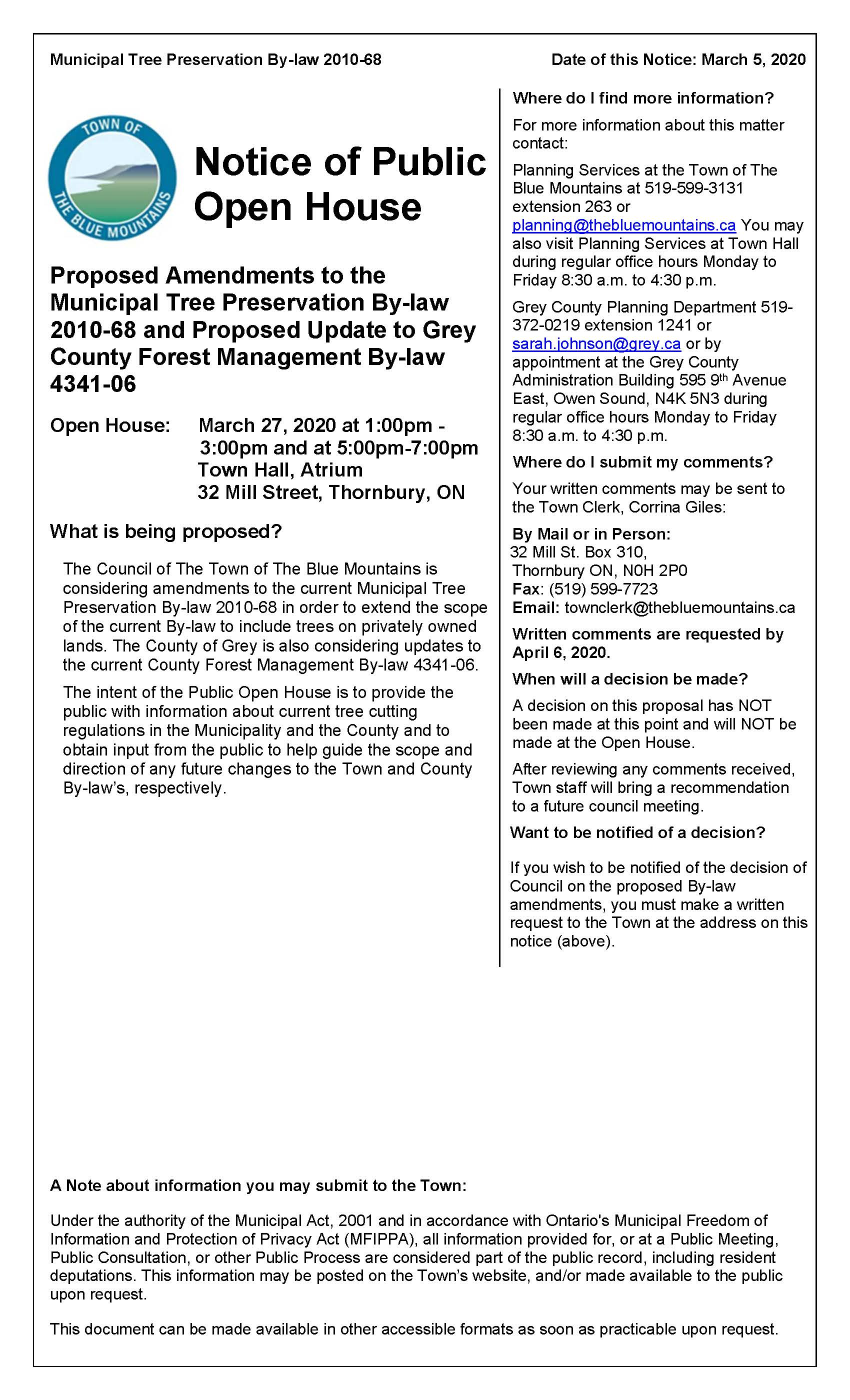 Proposed Amendments to the Municipal Tree Preservation By-law 2010-68